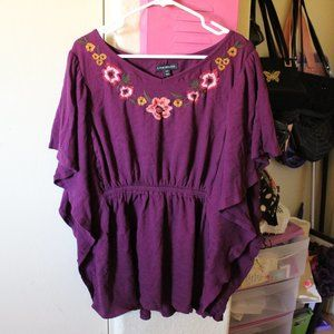 LANE BRYANT MAROON FLOWER EMBROIDERED BLOUSE